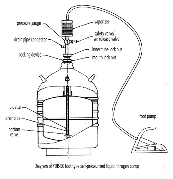 liquid nitrogen transfer device  u0026 foot pump
